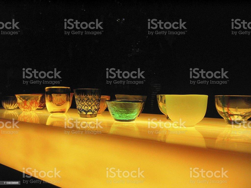 Luminous Sake Cups/Glasses stock photo