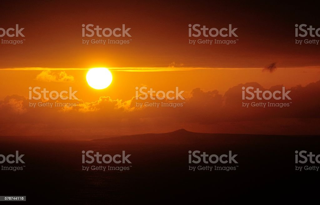 Luminous sunset of the Cape Verde islands stock photo