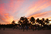 Lummus park view near South Beach, Miami, USA