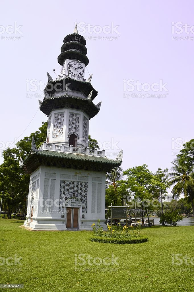 Lumpini park clock tower, Bangkok, Thailand stock photo