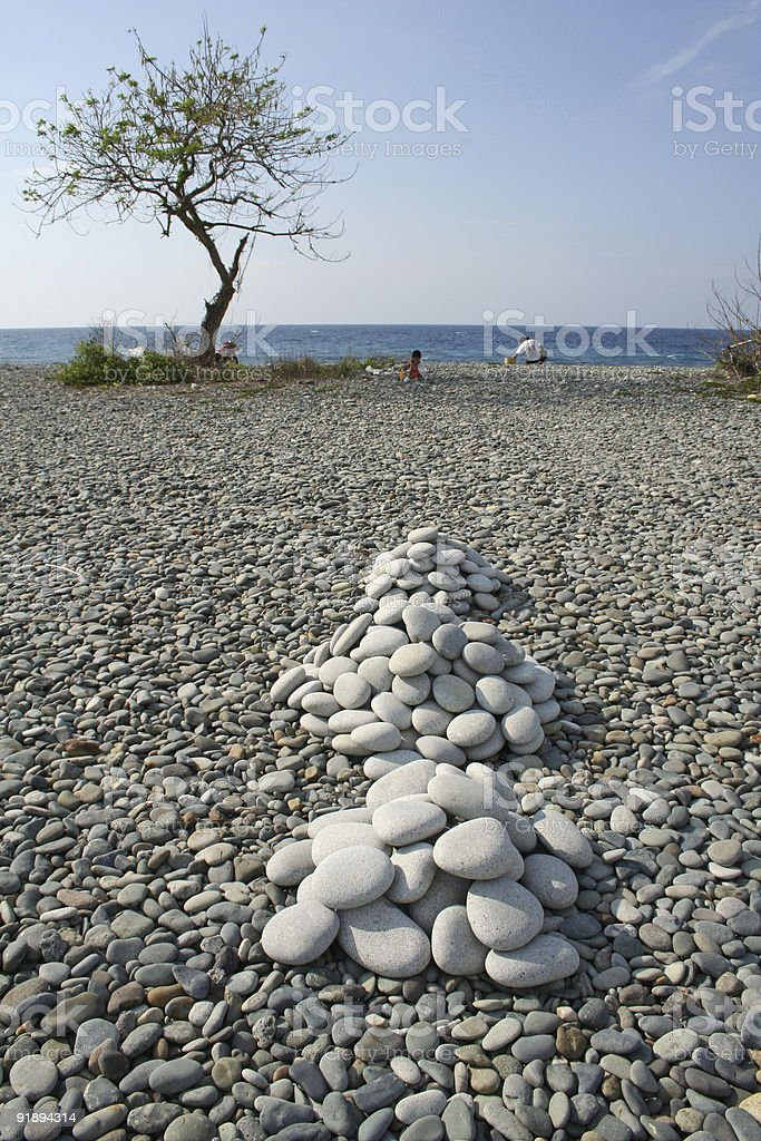 luna beach smooth rock piles royalty-free stock photo