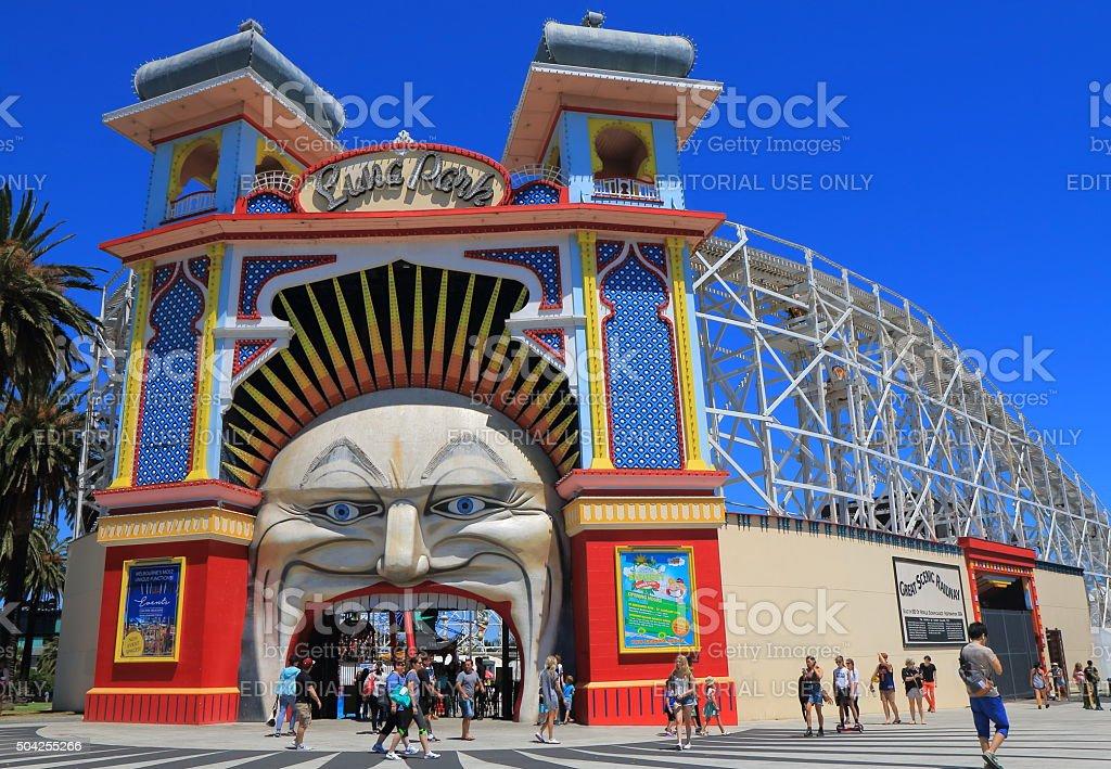 Luna park amusement park Melbourne Australia stock photo