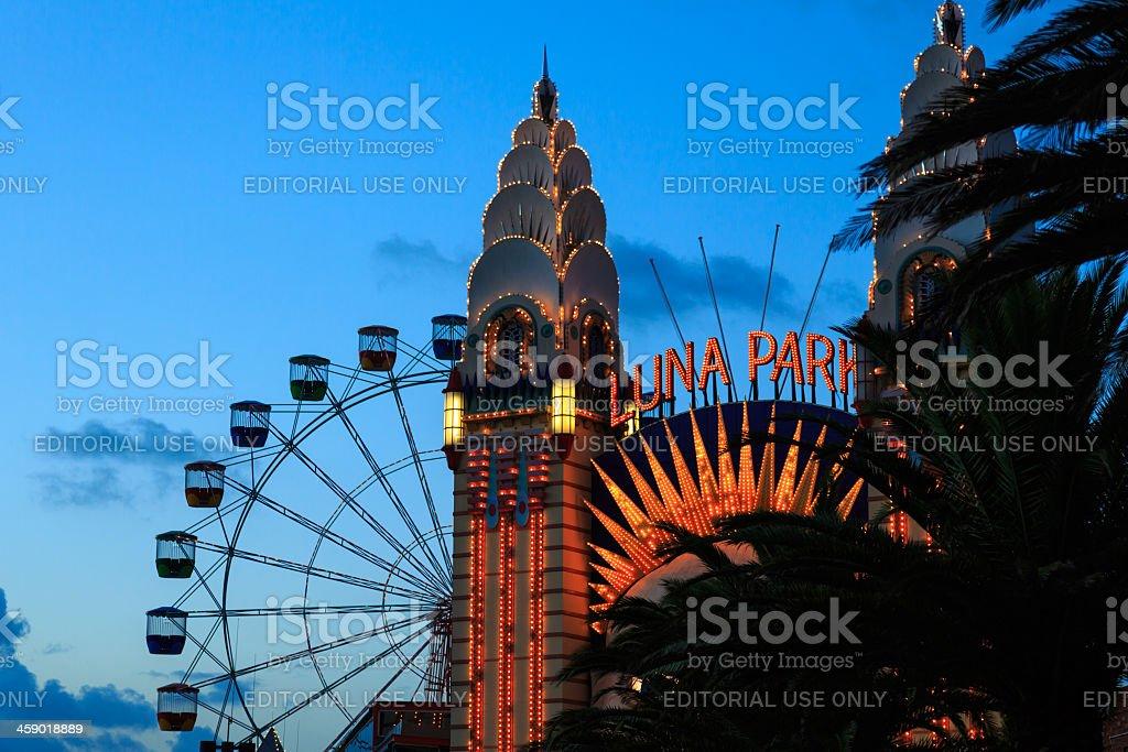 Luna Park at Dusk, Sydney, Australia stock photo