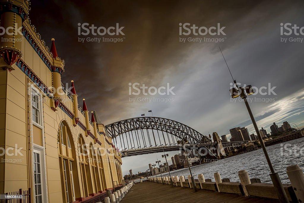 Luna Park, Sydney bush fire dramatic sky stock photo
