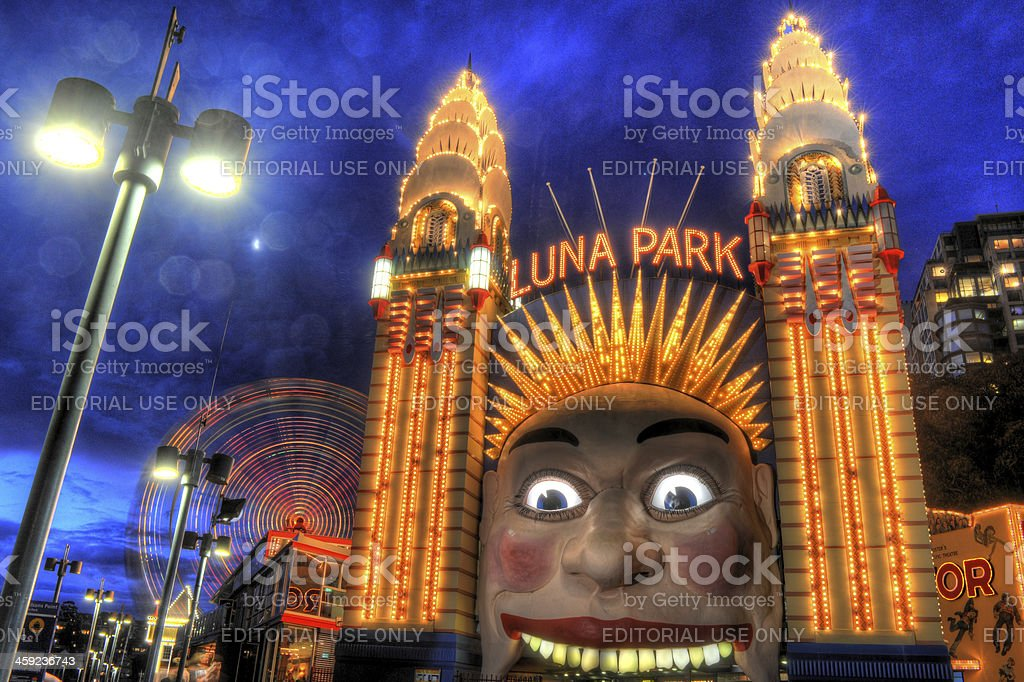 Luna Park Sydney with moving Ferris Wheel stock photo
