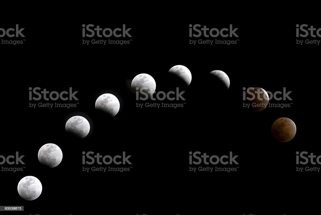 Lunar Eclipse Composite royalty-free stock photo