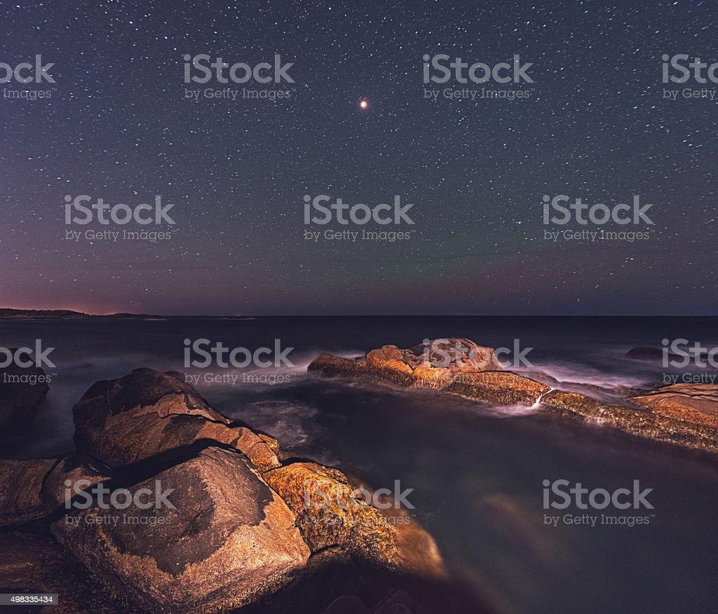 Lunar Eclipse Landscape stock photo