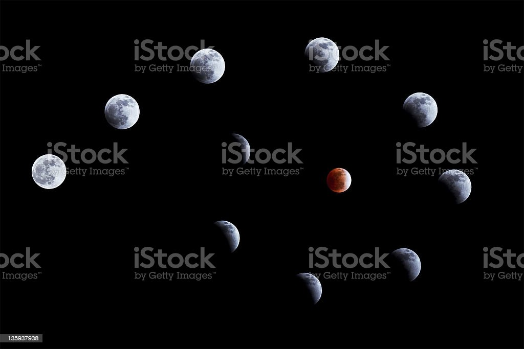 Lunar eclipse on 10 Dec. 2011 royalty-free stock photo