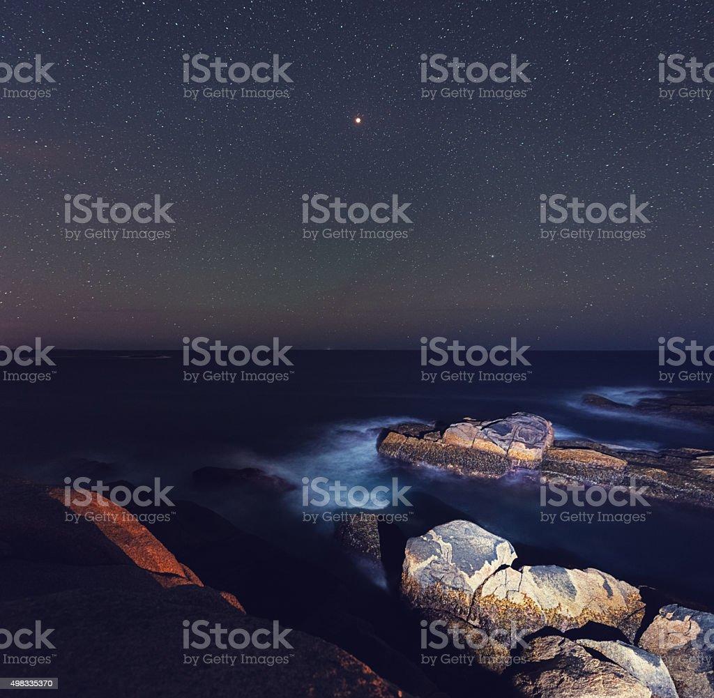 Lunar Eclipse Seascape stock photo