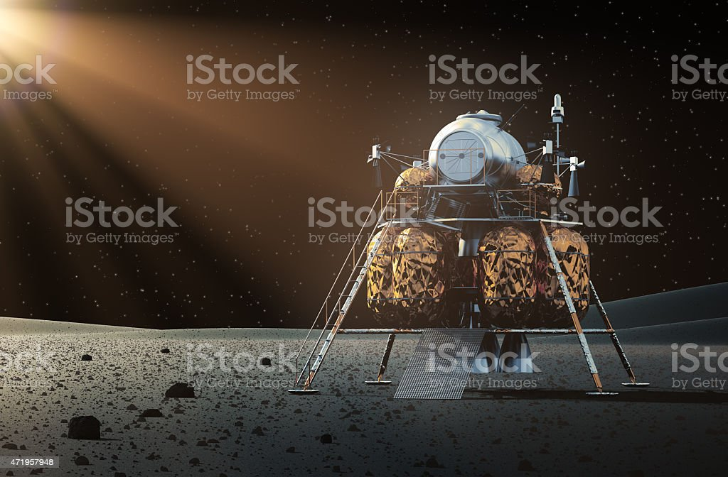 Lunar lander on surface of moon with beam of light shining stock photo