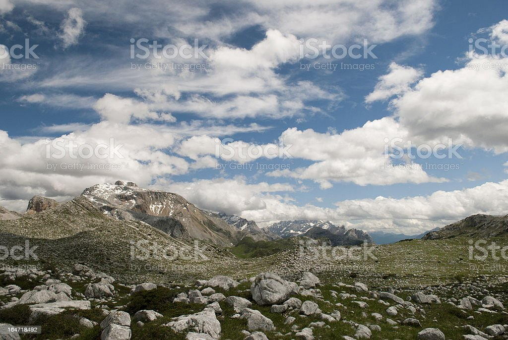 Lunar Landscape, Dolomite Mountains, Italy. stock photo