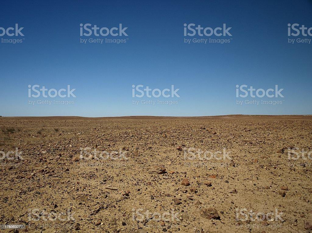 Lunar landscape in the desert near Coober Pedy, South Australia stock photo