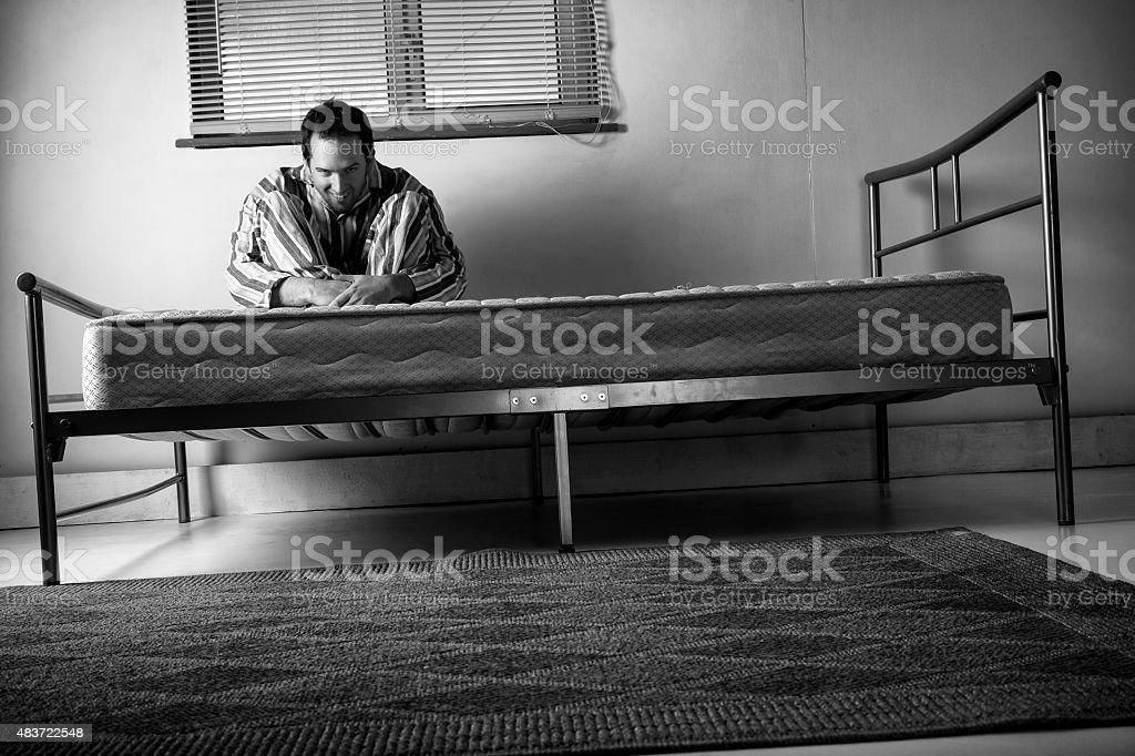 Lunatic In Striped Pyjamas - Black And White stock photo
