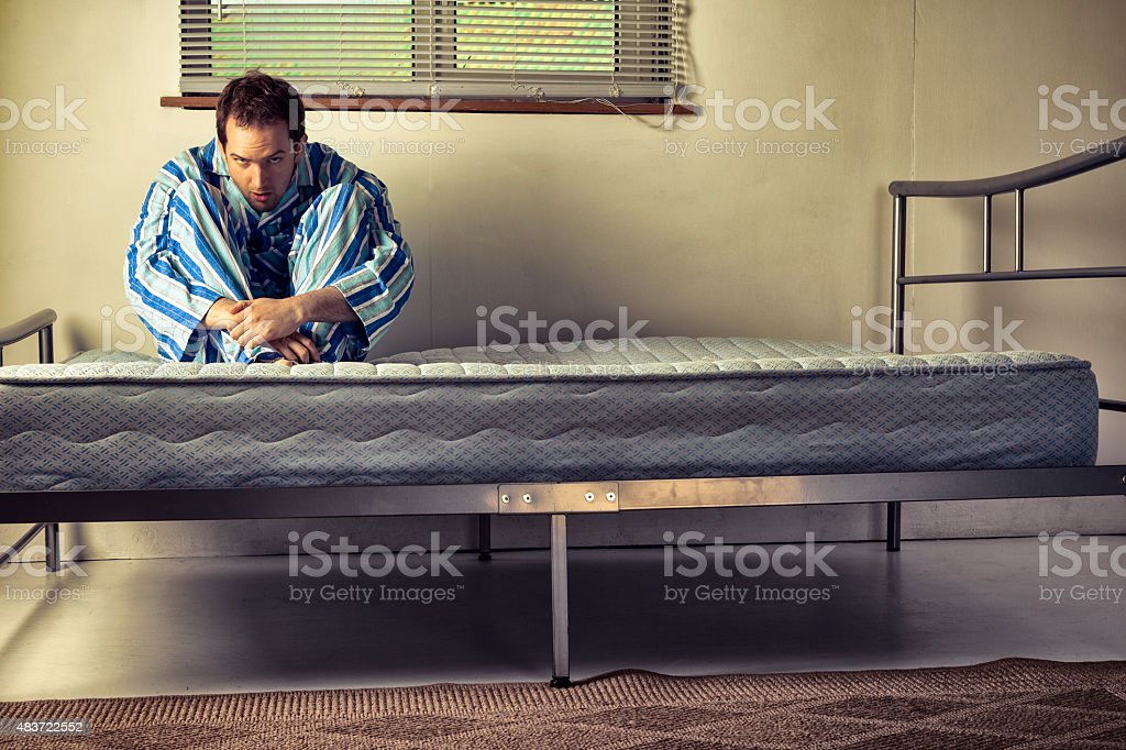 Lunatic In Striped Pyjamas stock photo