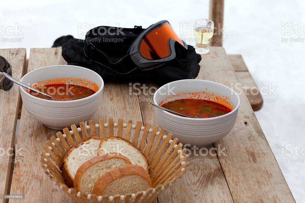 Lunch at Georgia ski resort, kharcho and chacha stock photo