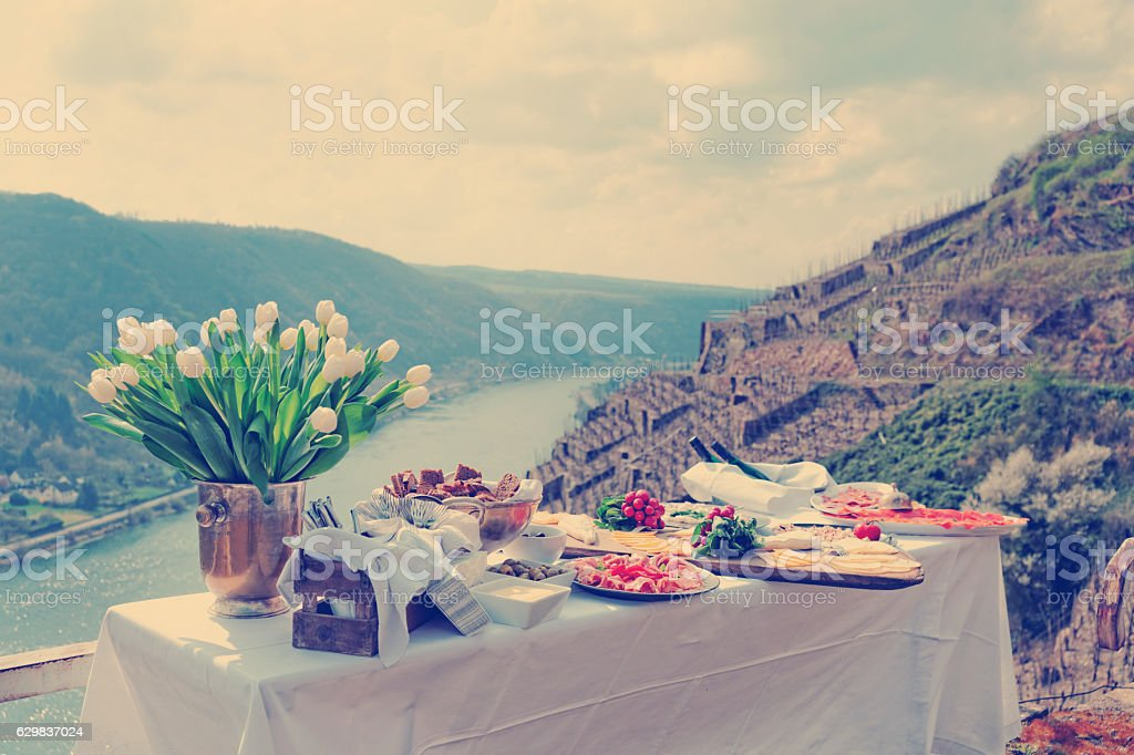 Lunch at vineyard, toned stock photo
