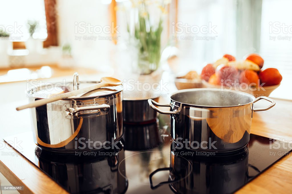 Lunch being made in modern kitchen stock photo