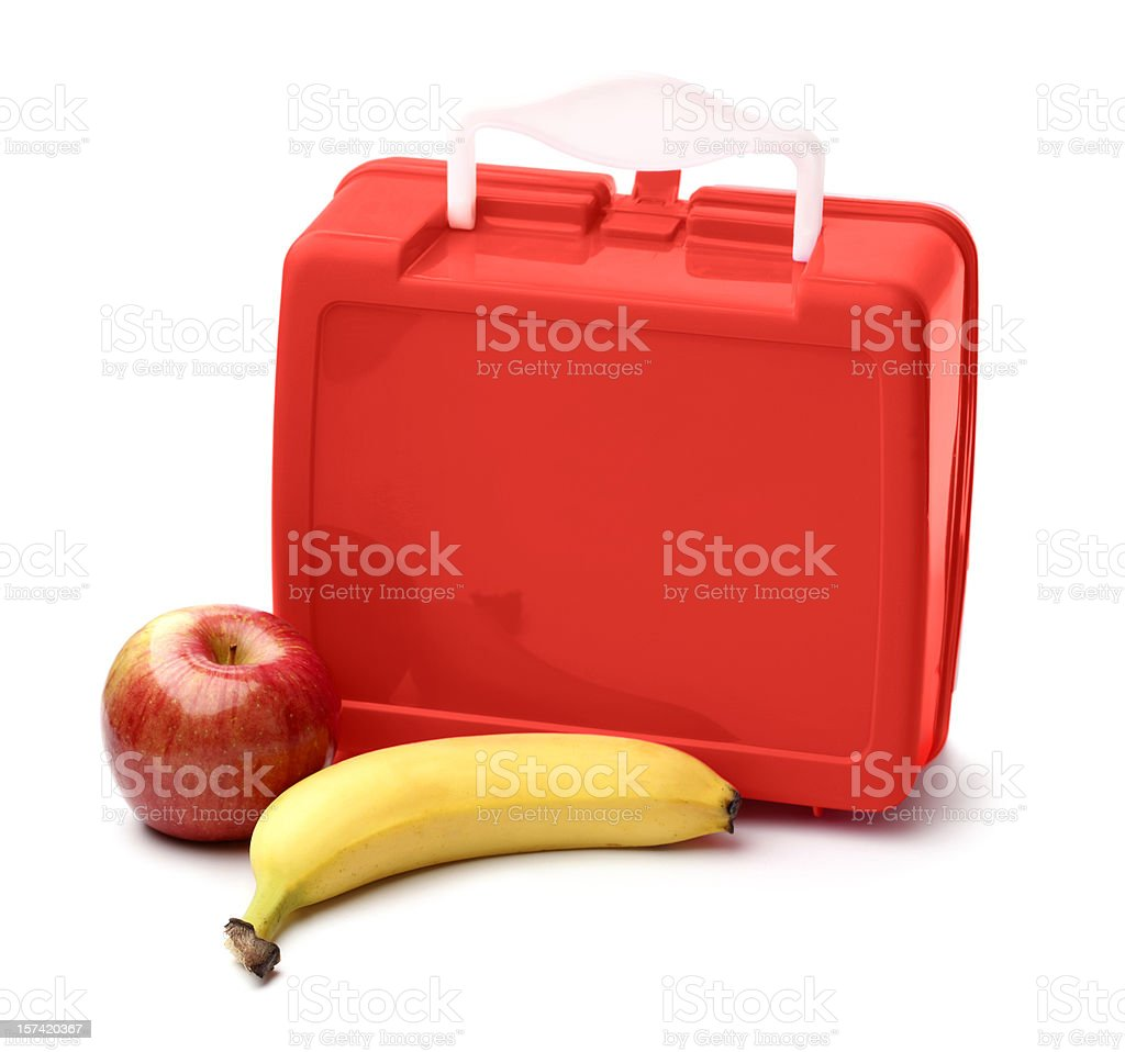 Lunch Box and Fruit stock photo