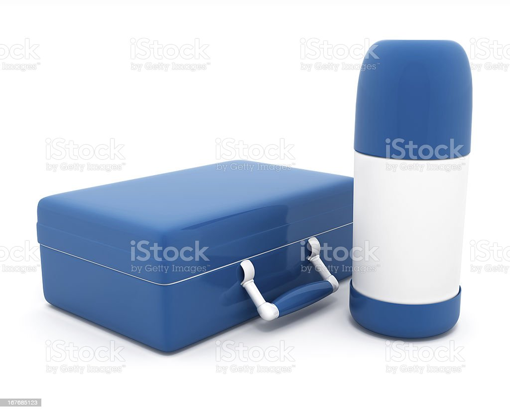 lunch box and thermos royalty-free stock photo
