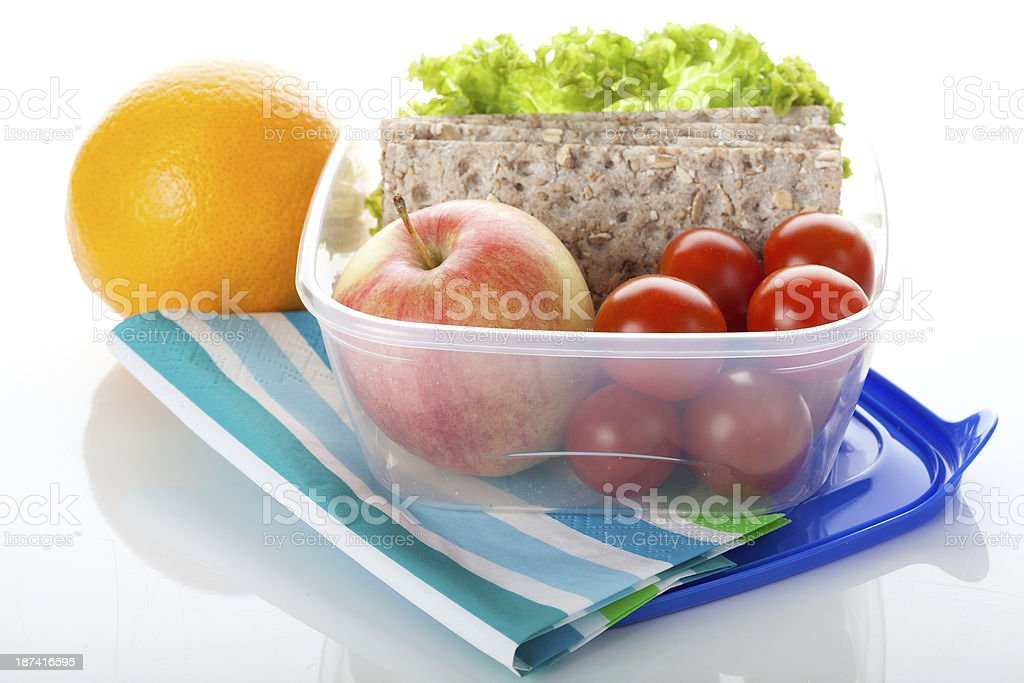Lunch box on white isolated background stock photo