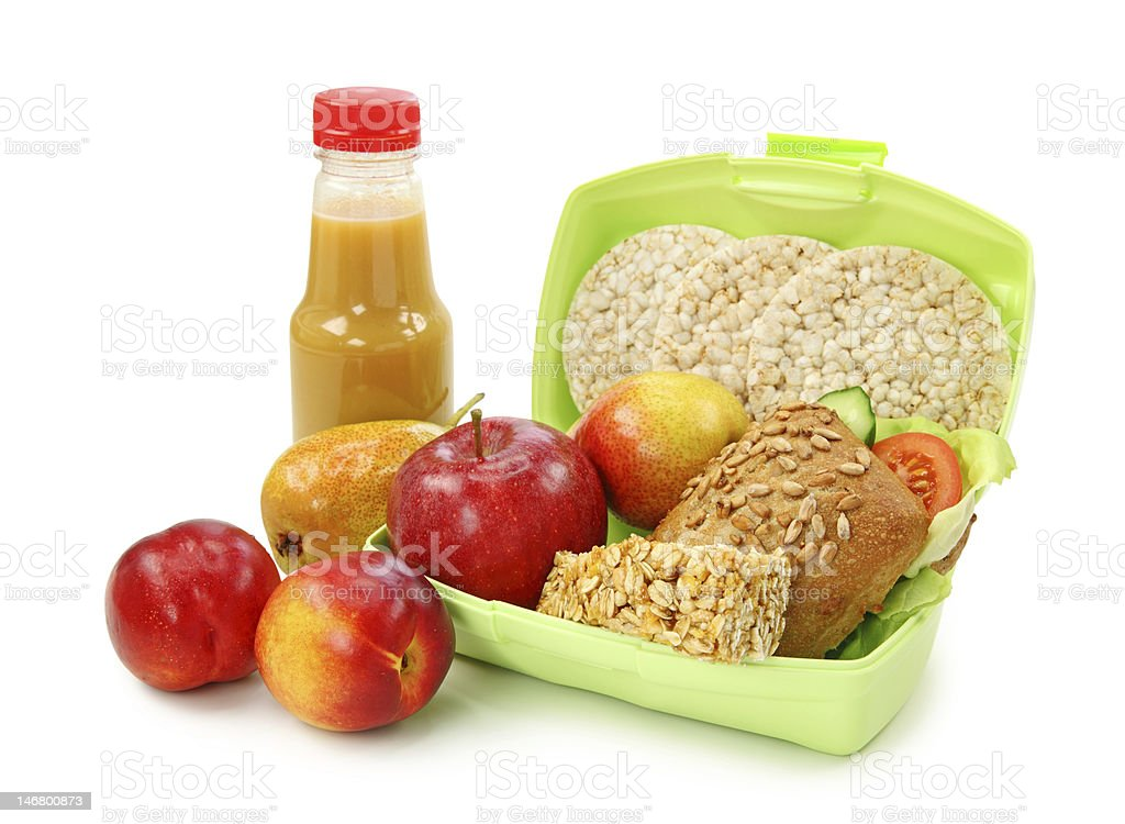 Lunch box with sandwich and fruits royalty-free stock photo