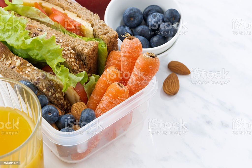 lunch box with sandwich of wholemeal bread on white background stock photo