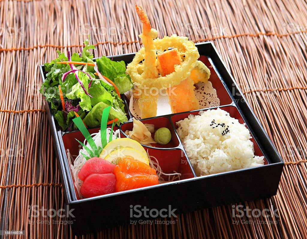 Lunch Box with Sashimi stock photo
