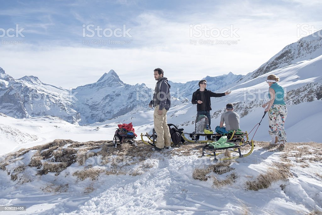 Lunch break in Grindelwald stock photo