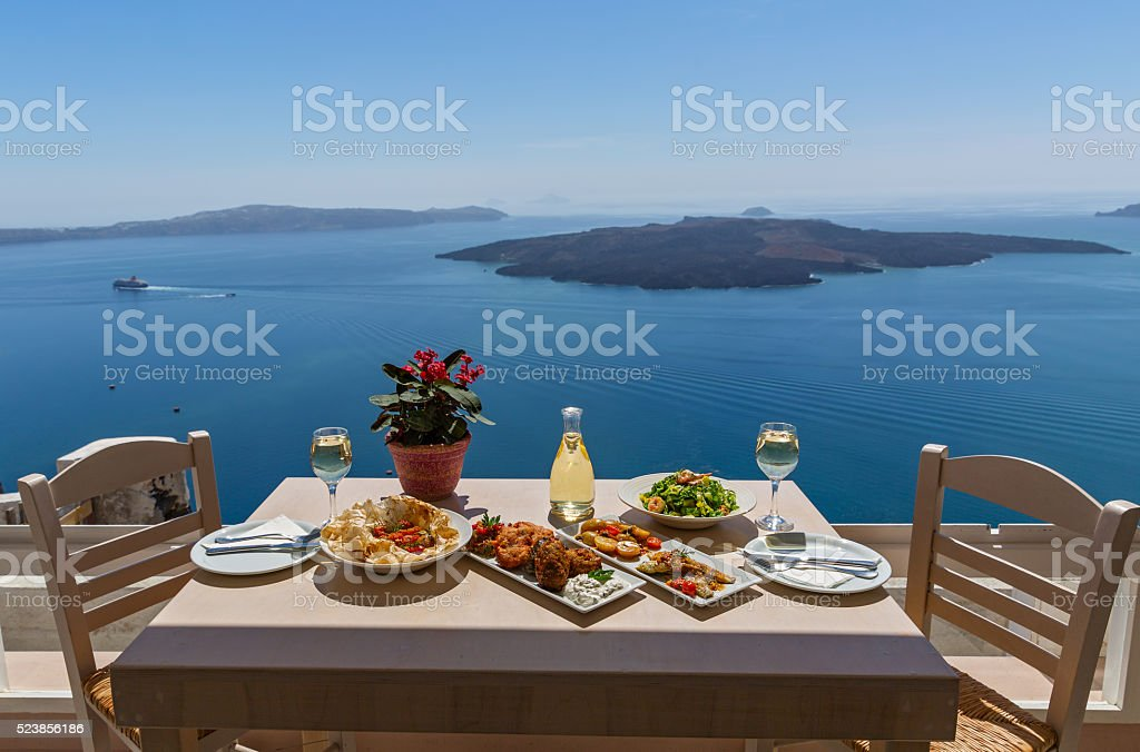 Lunch by the sea, Greece stock photo