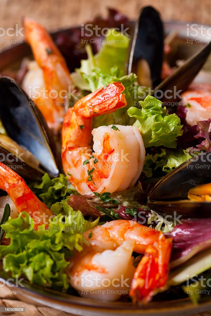 Lunch consisting of fried shrimp and vegetables royalty-free stock photo