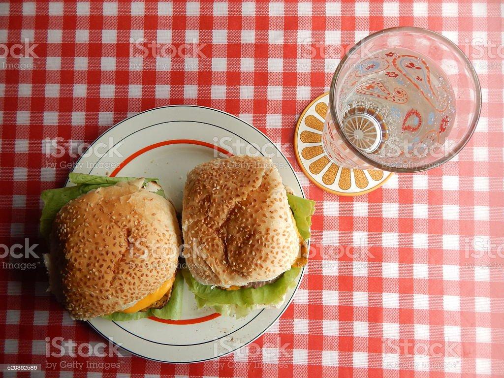 Lunch hamburguers and soda stock photo