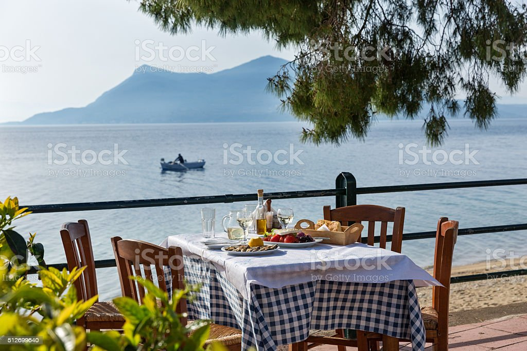 Lunch in a restaurant  near the sea stock photo