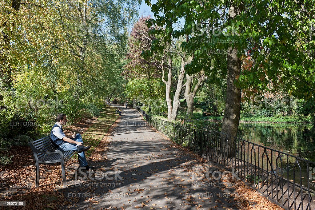 Lunch in an Autumn park. royalty-free stock photo