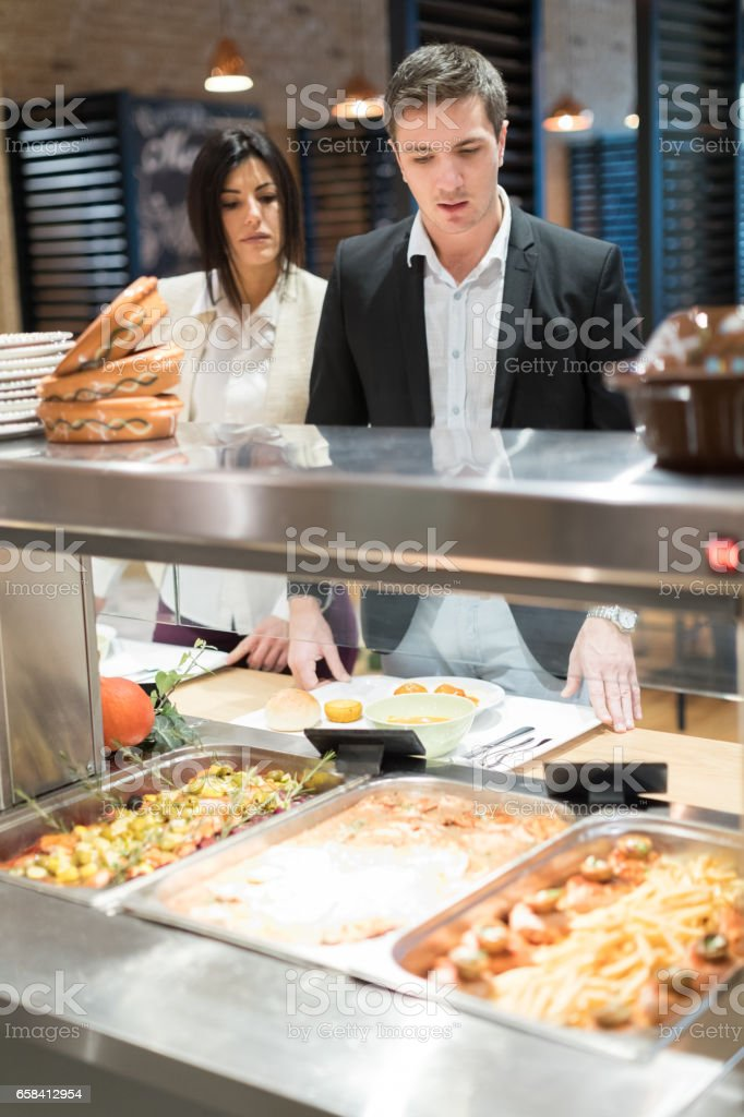 Lunch in cafeteria stock photo