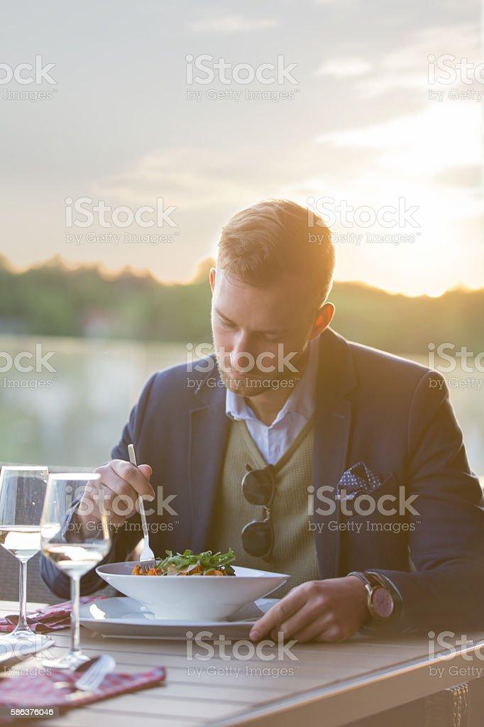 Lunch in outdoor restaurant stock photo