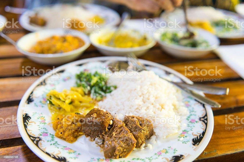 Lunch in restaurant in Sri Lanka stock photo