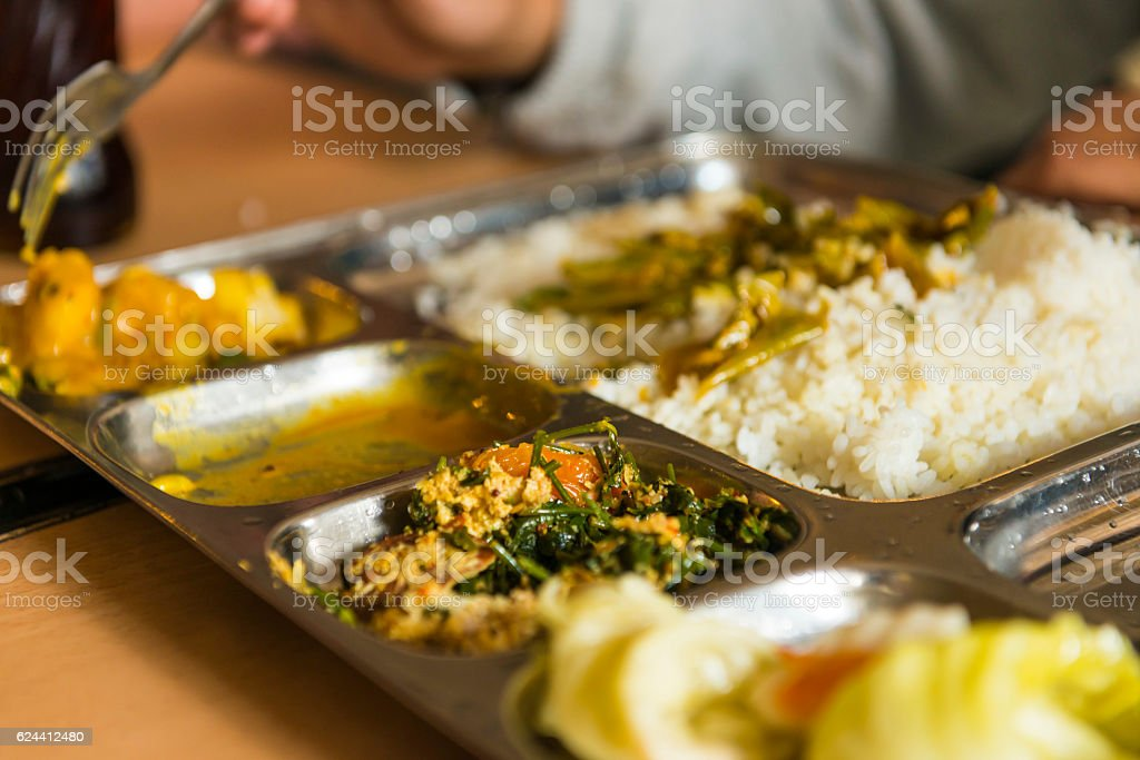 Lunch in restaurant in Sri Lanka stock photo