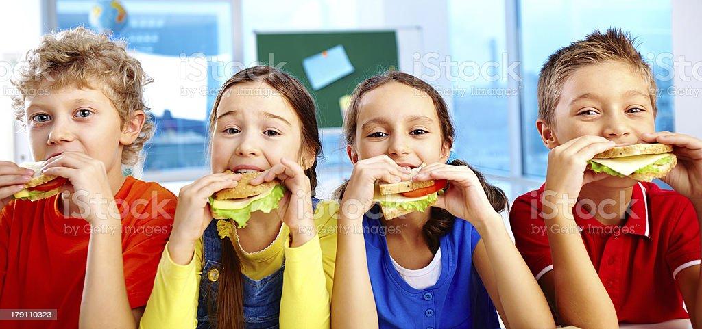 Lunch in school stock photo