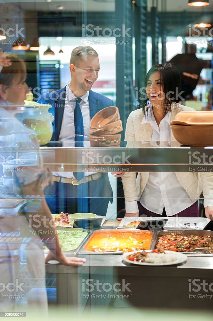 Lunch in self service restaurant stock photo