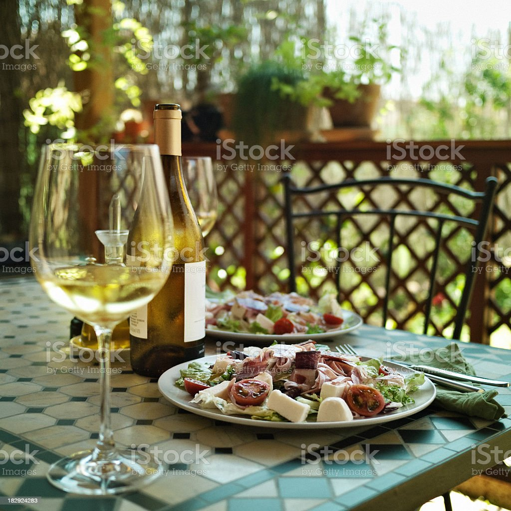 Lunch in the backyard royalty-free stock photo