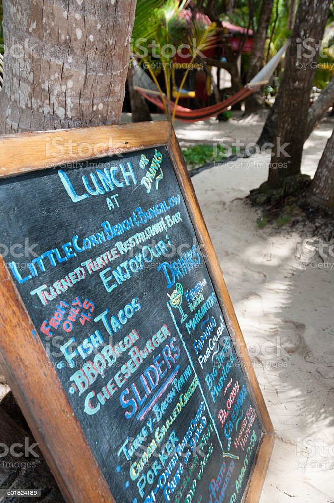 Lunch Menu Written On A shalk black Board at The stock photo