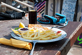 Lunch of mountain skiers  in cafe on the mountain in Livigno.