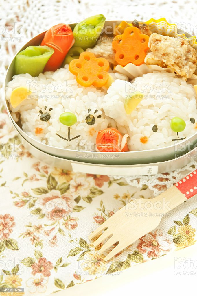 Lunch of parent-chil motif of bear stock photo