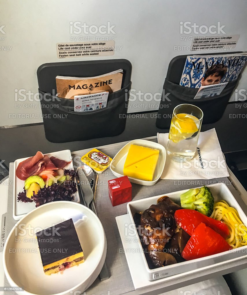 Lunch on board of Air France airplane stock photo