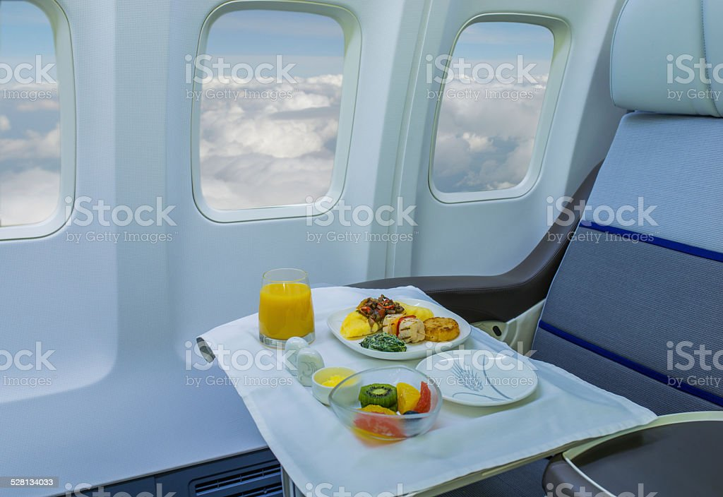 Lunch on board of airplane stock photo