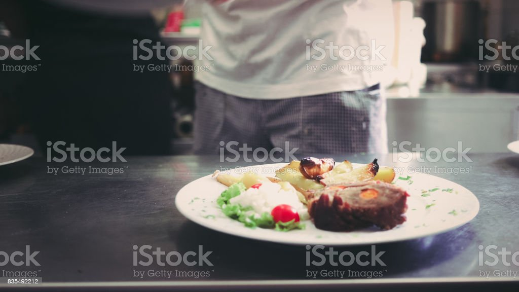 Lunch on plate stock photo