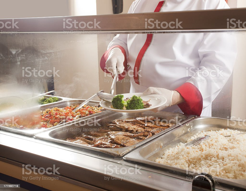 lunch service station stock photo