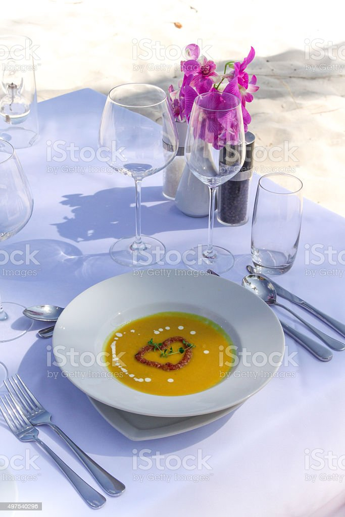 Lunch Soup at the Beach stock photo