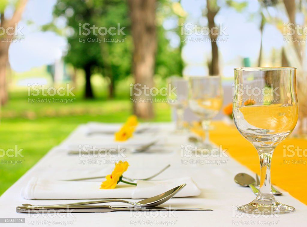 Lunch table setup at wedding reception. stock photo