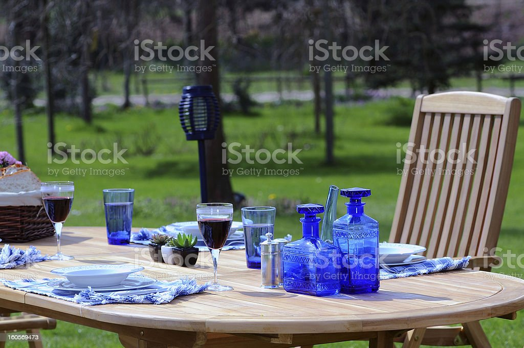 Lunch time at garden stock photo